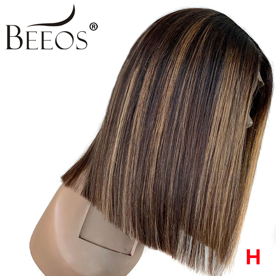 Beeos 150% 13*6 Deep Part High Ratio Lace Front Human Hair Wig Straight Bob Highlight Pre Plucked Brazilian Remy Hair 8