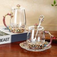 Creative crown Enamel Glass mug Coffee mugs Glass Chinese Tea Cup Coffee Mugs Creative Heat Resistant Glass Cups Set|Mugs|   -