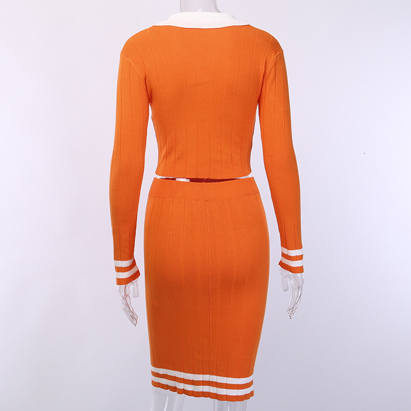 Long Sleeve Orange Knitted Suit Two Piece Set Women Skirt Set Sexy Dress Top Matching Sets Winter Robe Bodycon Outfits Clothing