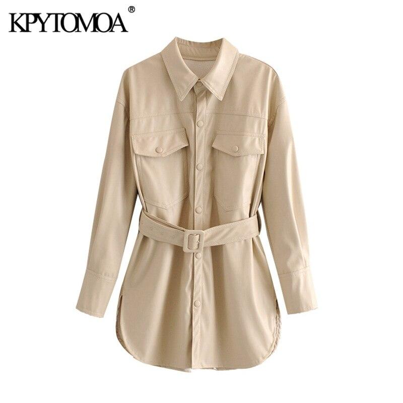KPYTOMOA Women 2020 Fashion PU Faux Leather With Belt Jacket Coat Vintage Long Sleeve Side Vents Female Outerwear Chic Tops