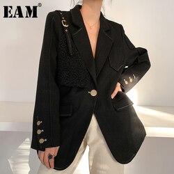 Женское пальто EAM, черное, с пряжкой, свободные, с длинным рукавом, 2020 1W476