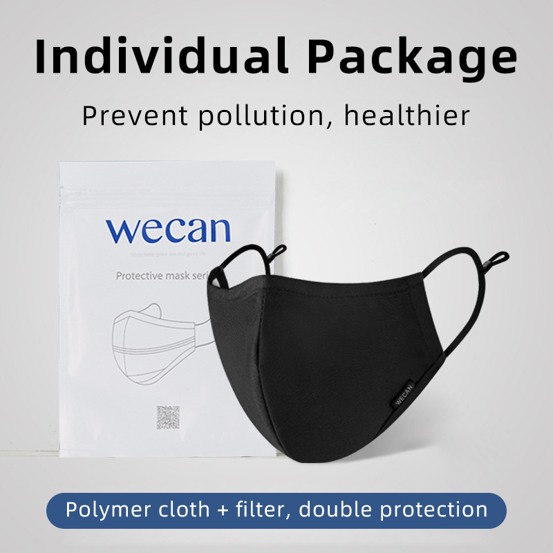Washable Reusable Face Mask Black Anti Fog Dust Pollution PM2.5 Filter Mouth Cover Protection Breathable Cotton Cloth Face Mask 6