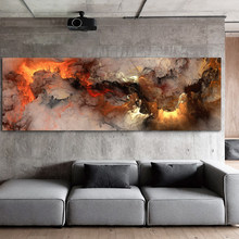 DDWW Wall Art Picture Canvas Print Abstract Landscape Painting Fire Cloud Poster Prints Living Room Home Decor No Frame