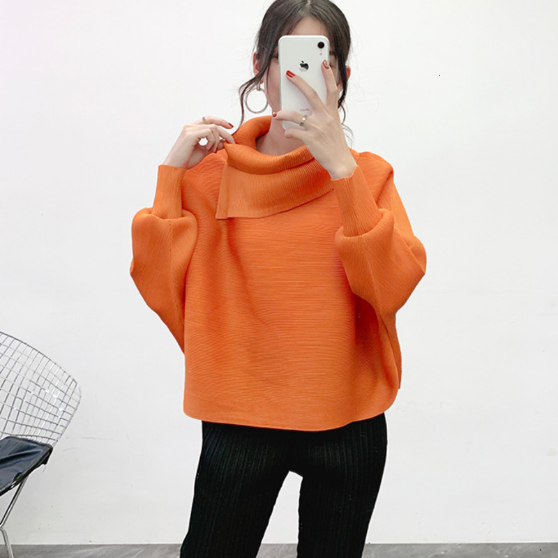 Image 5 - LANMREM 2020 New Scarf Collar Batwing Sleeves Pullover Twice Pleated Thickness Loose Spring Sweatshirt WJ74304Hoodies & Sweatshirts   -