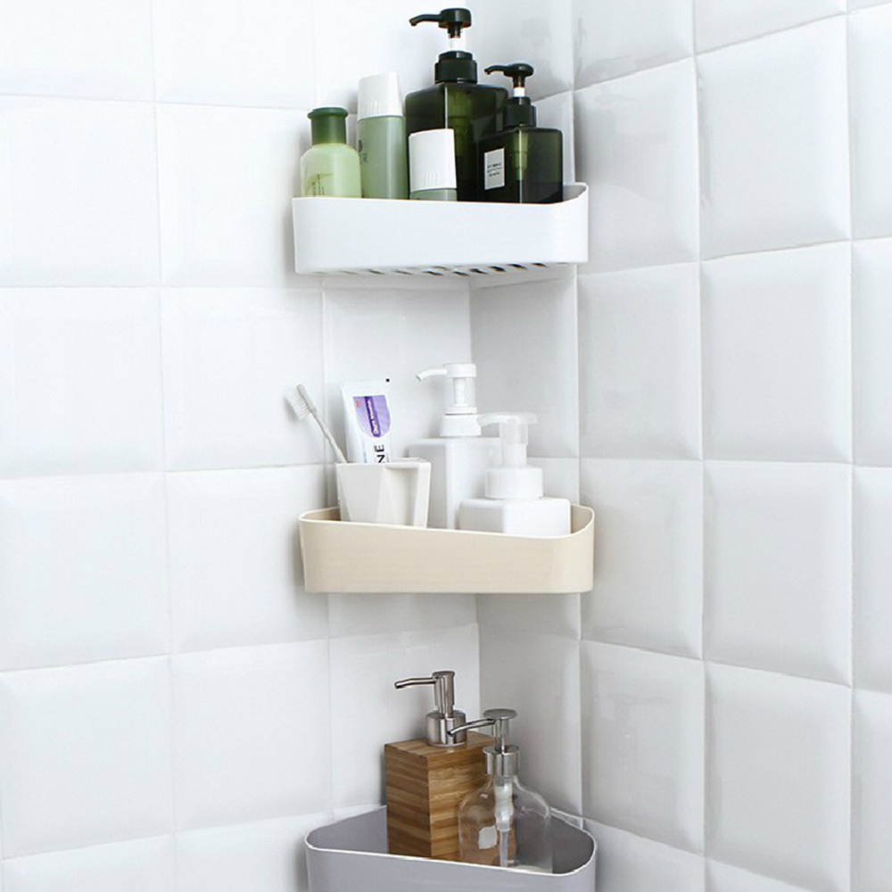 Punch Free Corner Shower Shelf Bathroom Shampoo Shower Shelf Holder Kitchen Storage Rack Bathroom Organizer