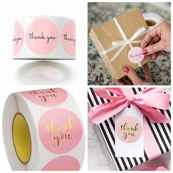 100-500pcs Pink Thank You Stickers Pink Stickers For Company Giveaway & Birthday Party Favors Labels & Mailing Supplies & Office 1