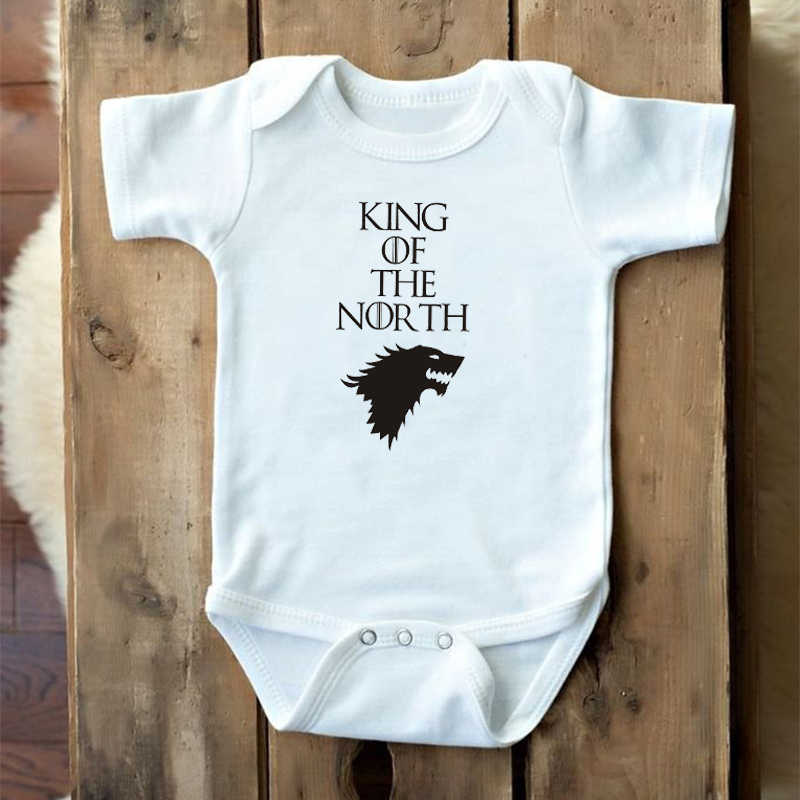 Cotton Infant Baby Boys Girls Short Sleeve Cute Printed Game Of Thrones Dracarys Romper Jumpsuit Clothes Outfits White