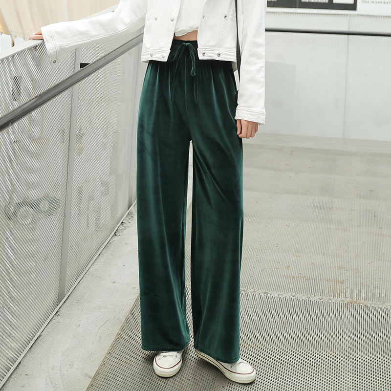 Pleuche   Pants   Autumn New 2019 Women   Pants   Gold Velvet   Pants   Winter Floor Length Casual Trousers High Waist Loose   Wide     Leg     Pants