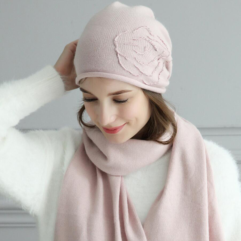 Women Hat Scarf Sets Autumn Winter New Wool Hats Fashion Elegant Casual Warm Beret Style Female Beanies