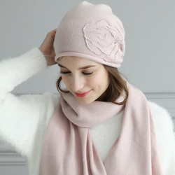 Women Hat Scarf Sets Autumn Winter New Wool Hats Fashion Elegant Casual Warm Beret Style Female Beanies