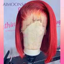 Red Wig Bob Colored Human Hair Wigs Short 360 Lace Frontal Wig Straight Human Hair Glueless Full Lace Wig Humain Hair 130 Remy(China)