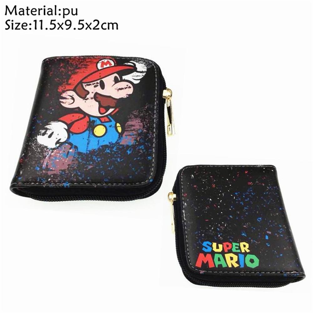 Game Super Mario Bros Short Wallet Boys Girls Zipper Credit Card Holder Leather Small Coin Purse Women Mini Cosplay Handbag Cute