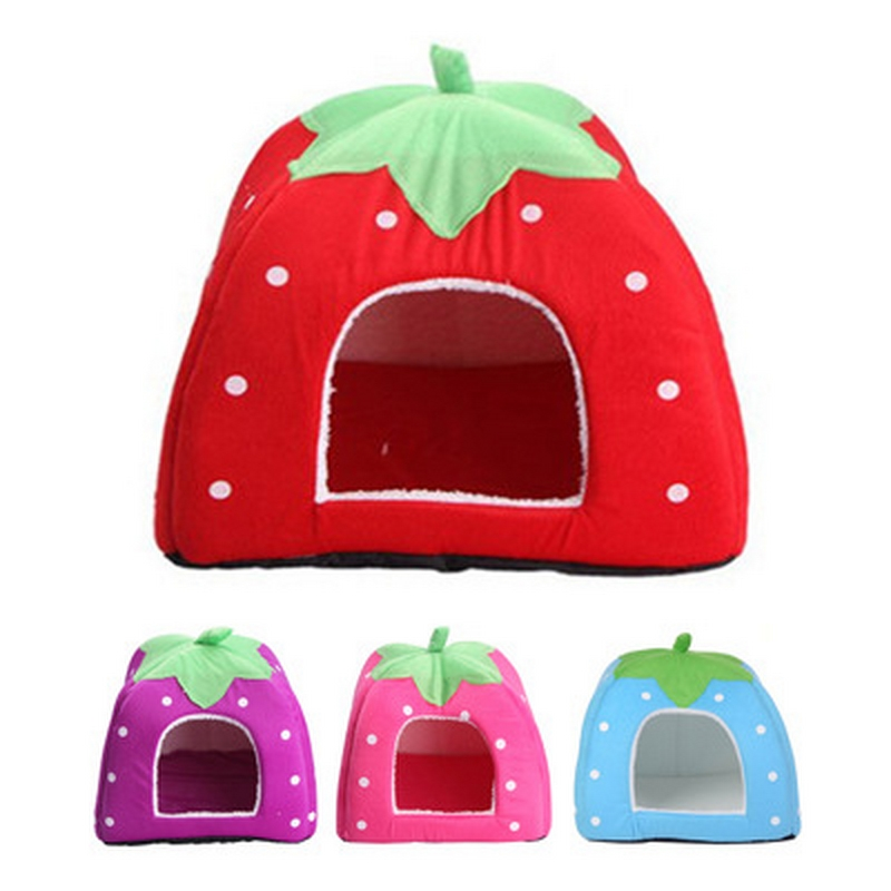 Pet Supplies dog house strawberry Cat Rabbit Bed House Kennel Doggy Warm Cushion Basket Pet House Dog Nest for Puppy Home image
