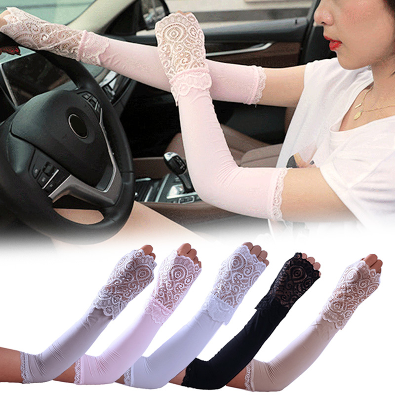 Women Sunproof Ice Silks Arm Sleeve Lace Sun UV Protection Cooling Sleeves For Outdoor Sports EIG88