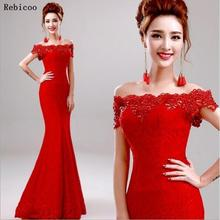 Long Elegant Lace Mermaid Red Evening Dress 2019 Cheap Price Crystal long Dresses Boat Neck Party Robe De Soiree