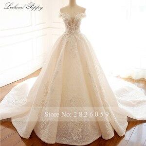 Image 5 - Lceland Poppy Luxury Off the Shoulder A line Wedding Dresses 2020 Sleeveless Vestido de Novia Beaded Bridal Gowns with Flowers