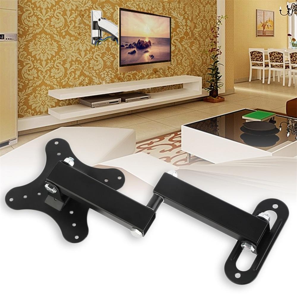 10KG Adjustable 14-27 Inch TV Wall Mount Bracket Flat Panel TV Frame Support 15 Degrees Tilt With Small Wrench For TV Monitor