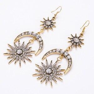 Женские многослойные длинные серьги с бахромой, инкрустированные кристаллами, звездами и луной, ювелирные изделия из сплава для свадебной ...