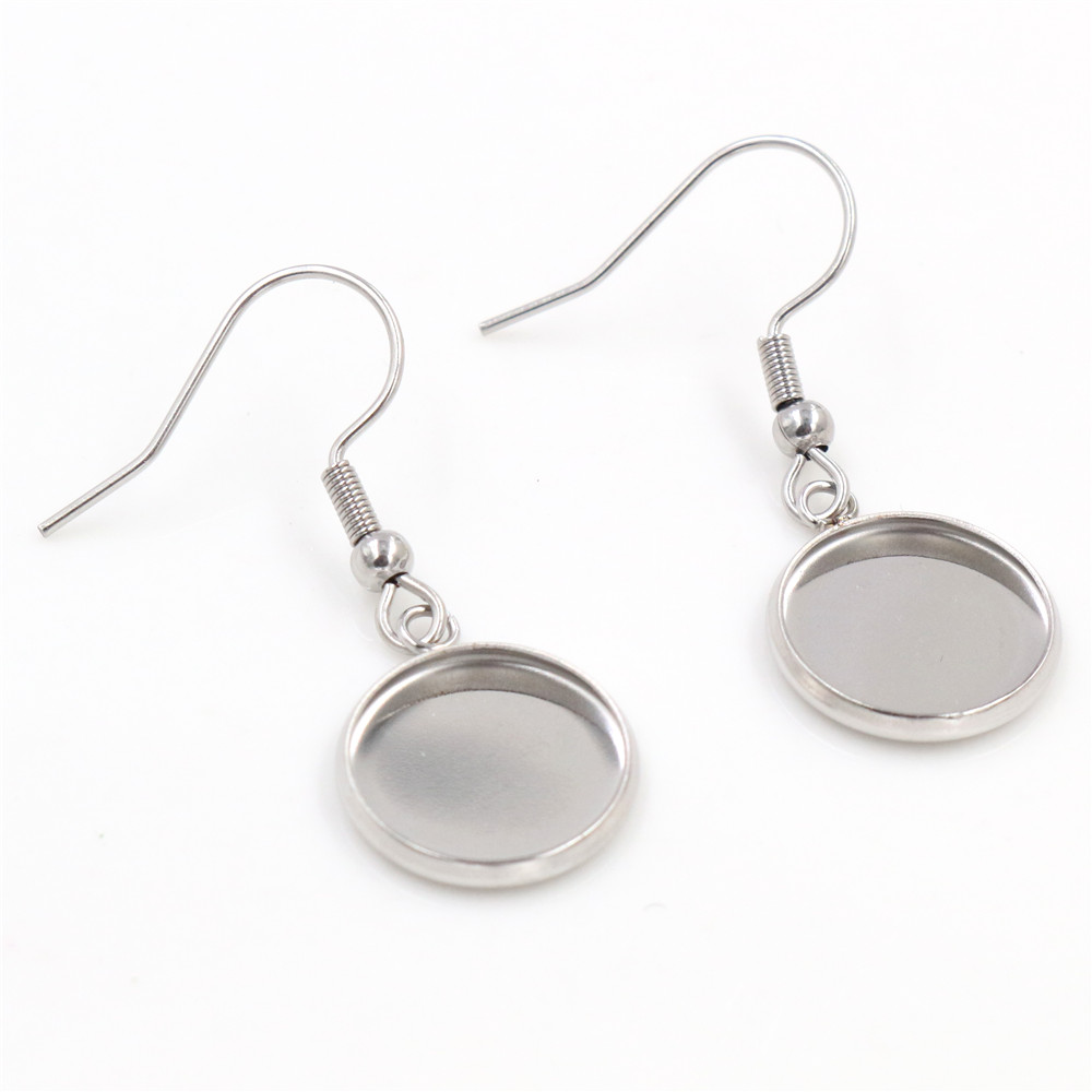 ( No Fade ) 12mm 10pcs Stainless Steel Cabochon Earring Settings Earrings Blank/Base,Diy Earrings Hooks Findings-W2-18