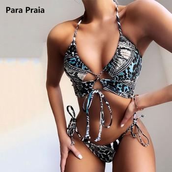 Bikini Bandage con cuello Halter Para Mujer, Bañador con estampado Vintage, traje...