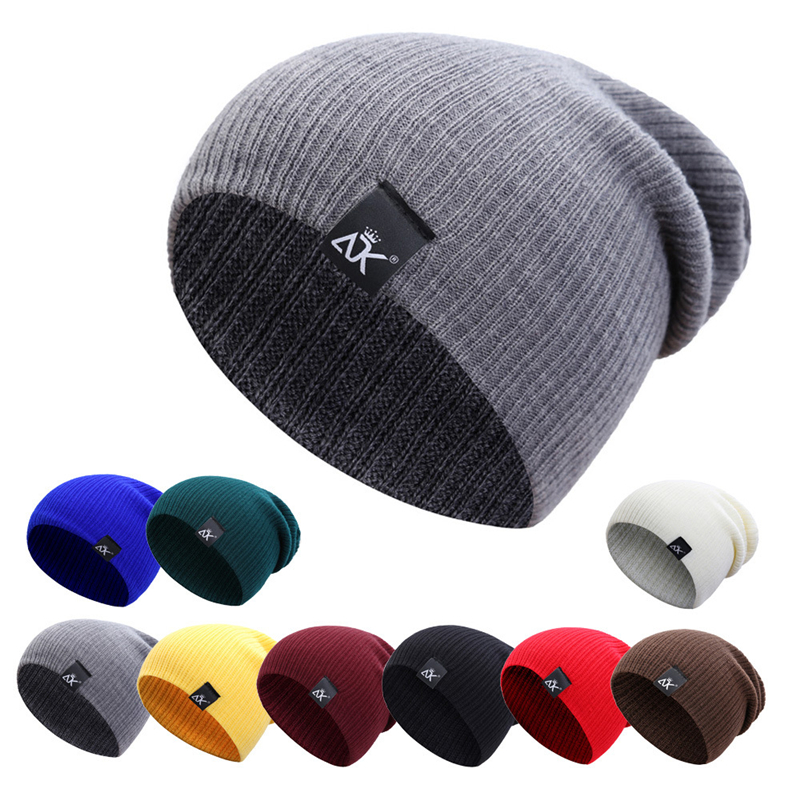 Cotton Blends Men's Beanies For Women Outdoor Bonnet Skiing Hats Unisex Keep warm in winter Solid Color Knitted Hat Hip Hop Cap