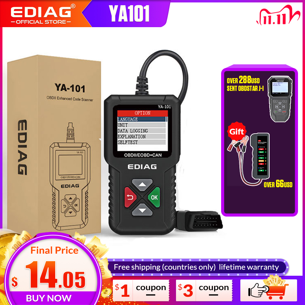 YA101 Code Reader  EDIAG OBDII EOBD YA-101 Upgrade With USB Life Long Enhanced OBD2 Scanner PK CR3001 CR319 AD310 ELM327