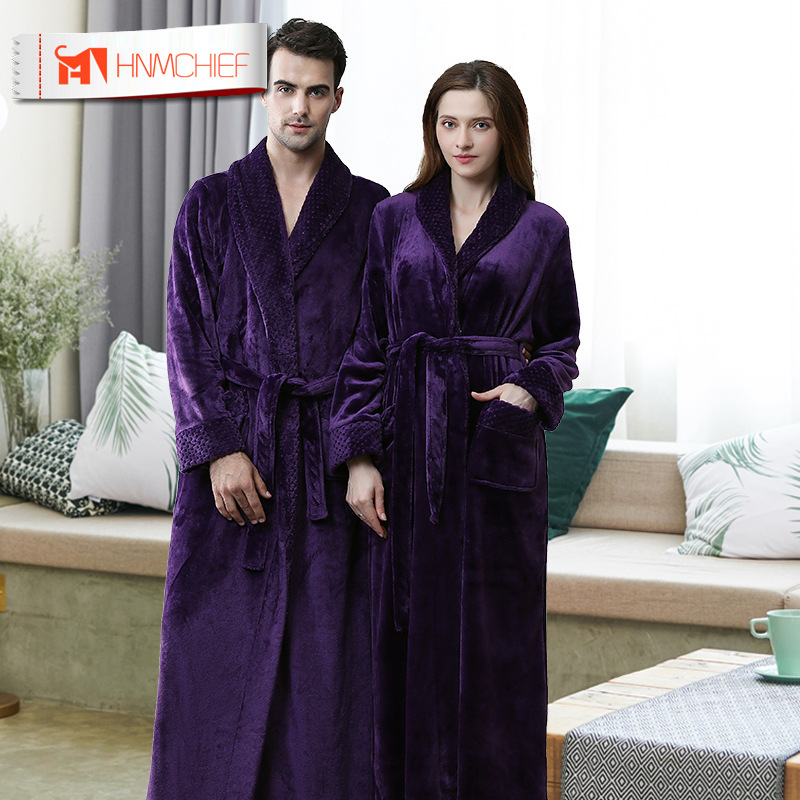 HNMCHIEF Autumn Winter Flannel Stitching Nightgown Long Section Men And Women Couple Pajamas New Bathroom Bathrobe Fashion Home