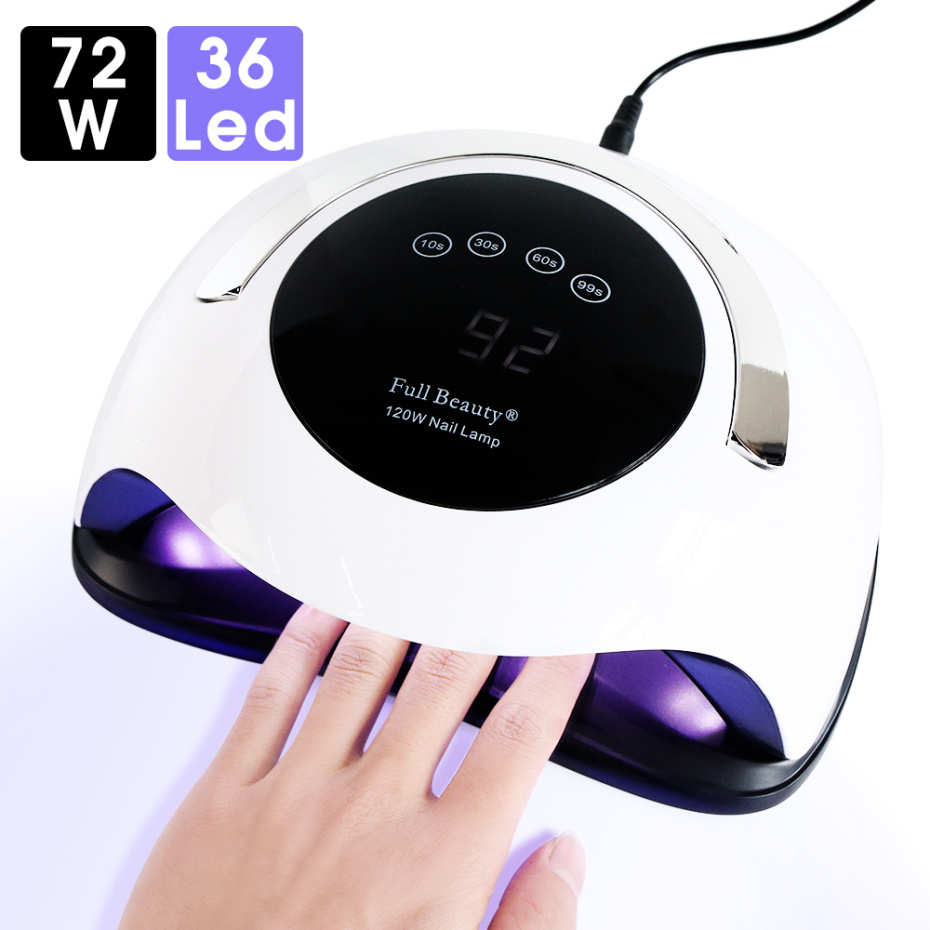 72w High Powder Nail Dryer 2 Hand UV LED Lamp Touch Screen Sensor Sun Led Light For Curing All Gel Manicure Tools LASUNBQ5T