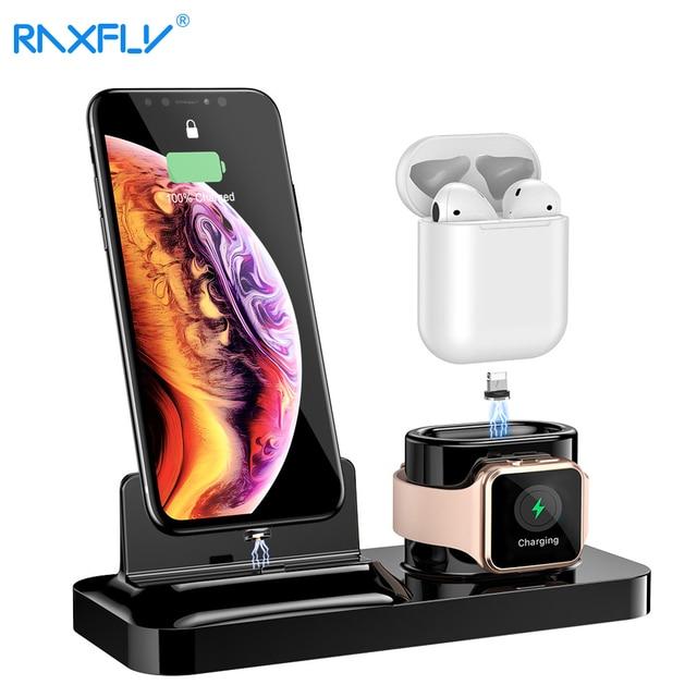 RAXFLY 3 in 1 manyetik telefon şarj cihazı iPhone Dock için 3 in 1 kablosuz şarj cihazı Airpods şarj standı tutucu apple Watch için