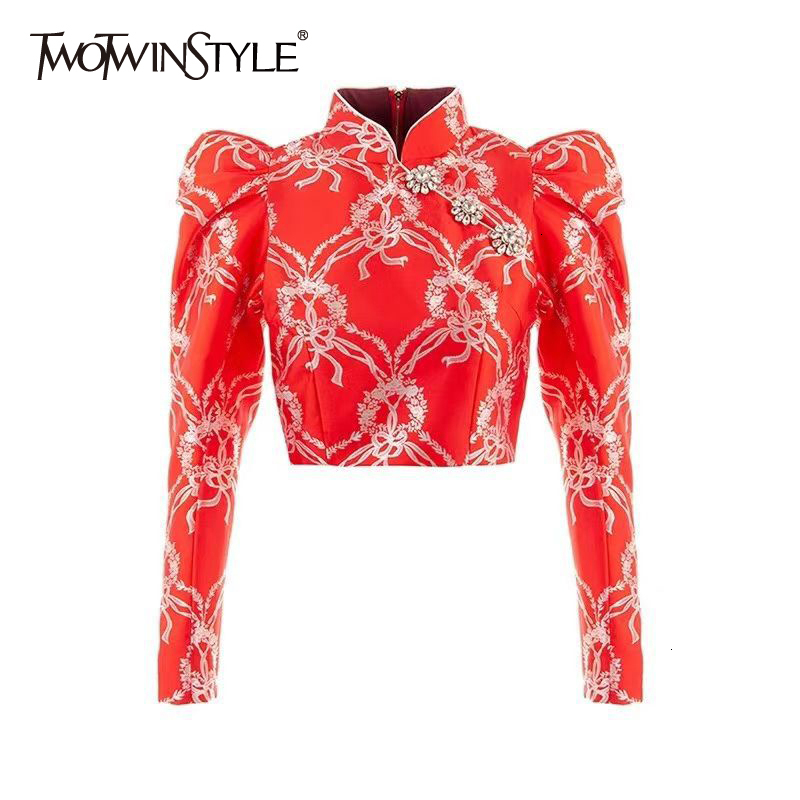 TWOTWINSTYLE Patchwork Diamond Print Hit Color Women's Shirt Stand Collar Puff Sleeve Short Female Blouses 2020 Fashion Clothing