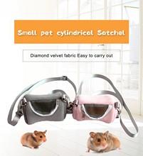 KIMI Small Pet Bag Diamond Fleece with Adjustable Single Shoulder Strap Detachable Breathable Mesh Tool Bags For Hamsters