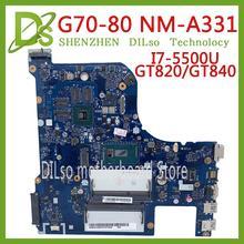 KEFU G70-80 motherboard For Lenovo G70-70 B70-80 Z70-80 I7-5500U motherboard AILG NM-A331 with GT840M/GT820M Test 100% original palmrest upper bottom case door for lenovo g70 70 g70 80 b70 70 b70 80 b70 g70 lcd back lcd front bezel cover a b c d e shell