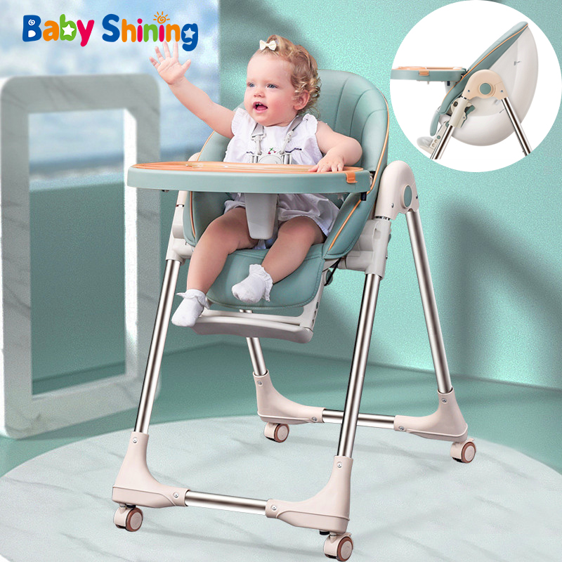 Baby Shining Baby Chair PU Seat High Chair Upgraded Wheel Thickened Pipe Foldable Egg Feeding Chair Table Baby Multi-functional
