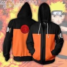 Sudadera con capucha de Naruto para hombre y mujer, con cremallera, UZUMAKI, chaqueta con estampado 3d, disfraz de Cosplay, ropa de calle Harajuku