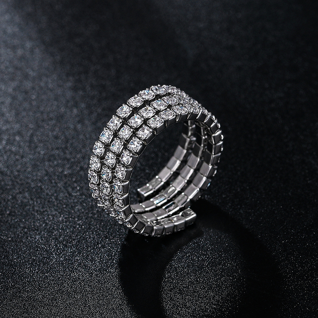 WEIMANJINGDIAN Brand New Arrival Cubic Zirconia CZ Crystal Stretched Rings in Adjustable Size|Wedding Bands|   -