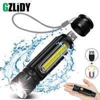 USB Aufladbare LED Taschenlampe Fahrrad Licht Seite licht design + Schwanz magnet design Multi-funktion Zoomable Fackel Für camping