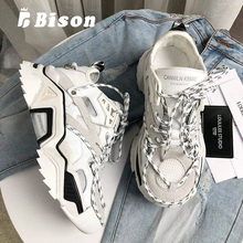 Bison Summer Sneakers Women Thick Bottom Lace Up Sport Shoes Female Shoes Fashion Causal Breathable Street Style Daddy Shoes 2018 new soft bottom lace up women s shoes breathable net surface student sport shoes ladies causal shoes small wihte shoes