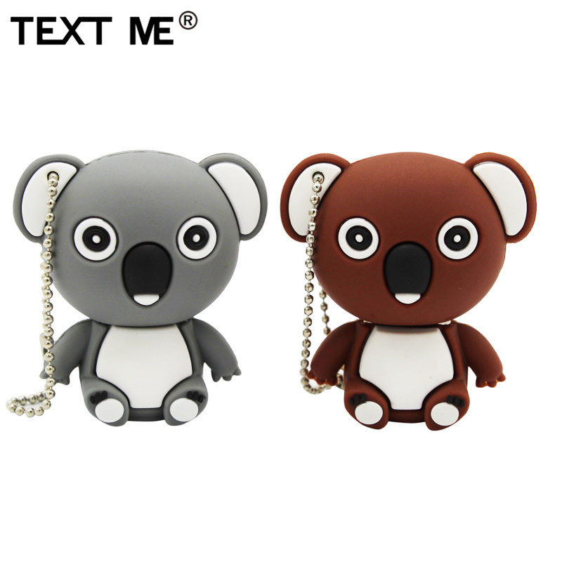 TEXT ME Cartoon Animal Koala Gary Brown Model Usb Flash Drive Usb 2.0 4GB 8GB 16GB 32GB 64GB Creative Pendrive