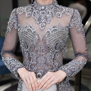 Image 4 - Dubai Luxury Mermaid Evening Dress 2020 Gorgeous Gray High Neck Beaded Beading Rhinestones Crystal Long Sleeve Formal Gown