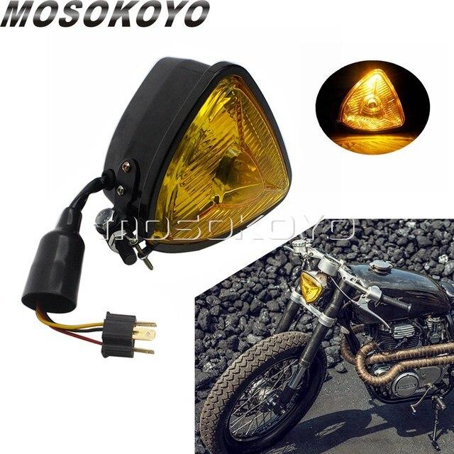 שחור צהוב עדשת אופנוע רטרו משולש פנס אמבר 12V בציר פנס עבור מותאם אישית אופני ופר הקפה רייסר אוניברסלי