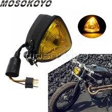 Amarelo preto lente da motocicleta retro triângulo farol âmbar 12v do vintage para personalizado moto chopper cafe racer universal