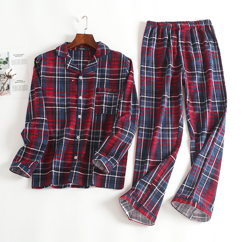 Autumn/Winter Pure Cotton Men Long Sleeved Trousers Flannel Home Wear Plaid Loose Pyjamas Suit Casual Home Clothing 2PCS