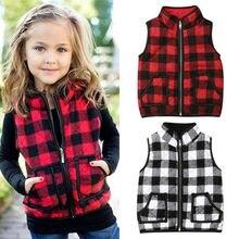 Plaid клетчатый жилет для маленьких девочек; верхняя одежда; пальто на молнии; теплая куртка; осенне-зимняя одежда
