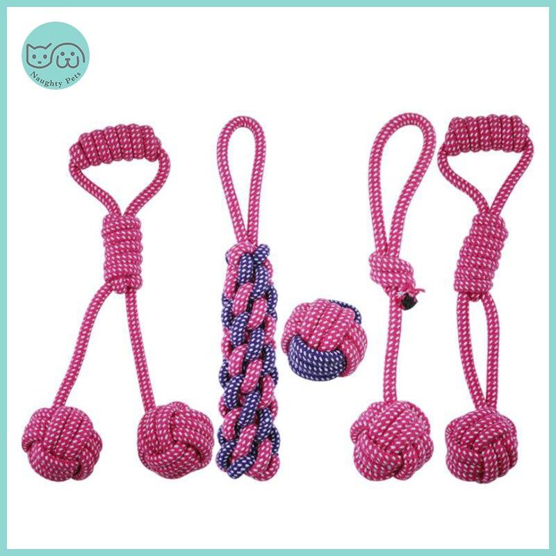 Питомцы игрушечные собаки, устойчивые к укусам, ватный шарик, веревка с узлом, игрушка, интерактивный Щенок, Жевательные Зубы, игрушки для чистки собак и кошек-0