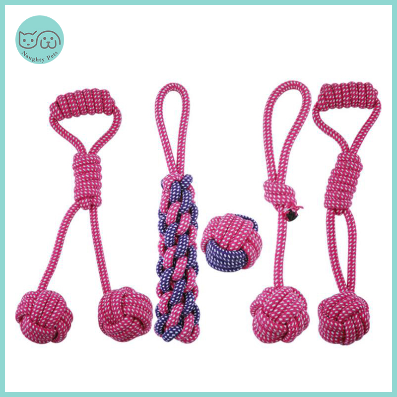 Pets Dog Toys Bite Resistant Cotton Ball Stick Knot Rope Toy Interactive Puppy Chew Teeth Cleaning Toys For Dogs Cats