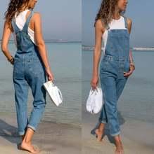 Новинка 2020 женские синие джинсовые комбинезоны комбинезон