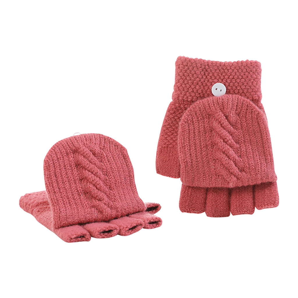 2019 Half-finger Gloves Women Fingerless Clamshell Solid Color Knitted Simple Convenient Gloves Autumn Winter Warm Sisters Gifts