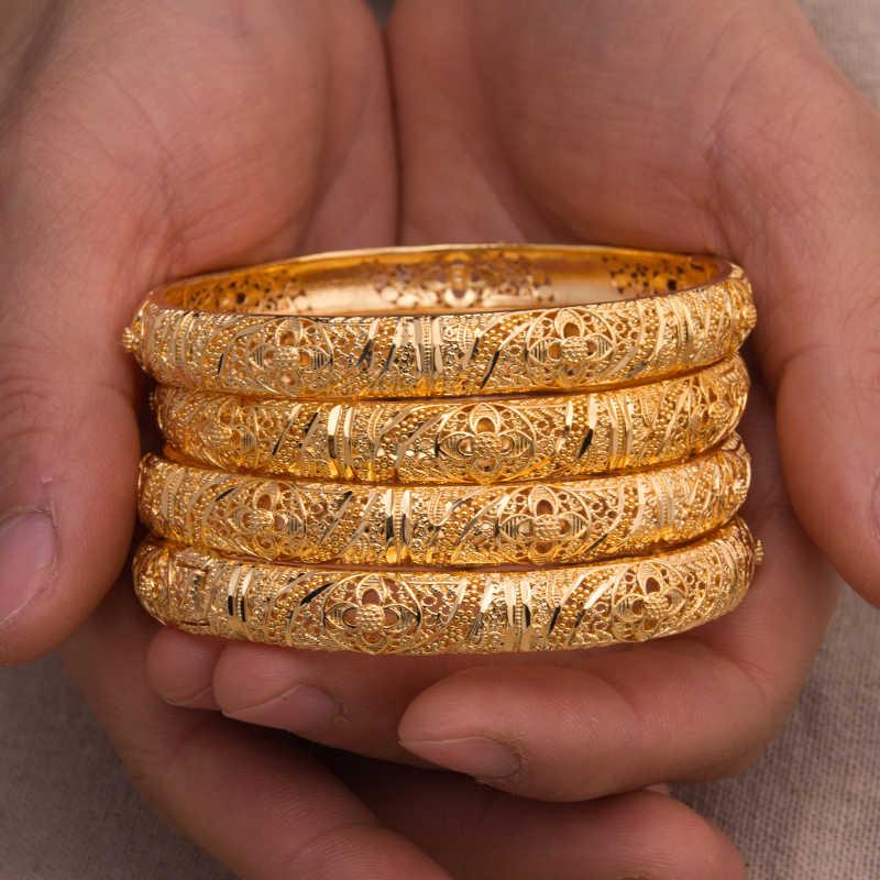 4 pz/lotto 24K Dubai Del Braccialetto Delle Donne Dei Monili In Oro di Rame 18 k GF Dubai Del Braccialetto per Le Donne Africa Arabo Articoli regalo di cerimonia nuziale nuziale