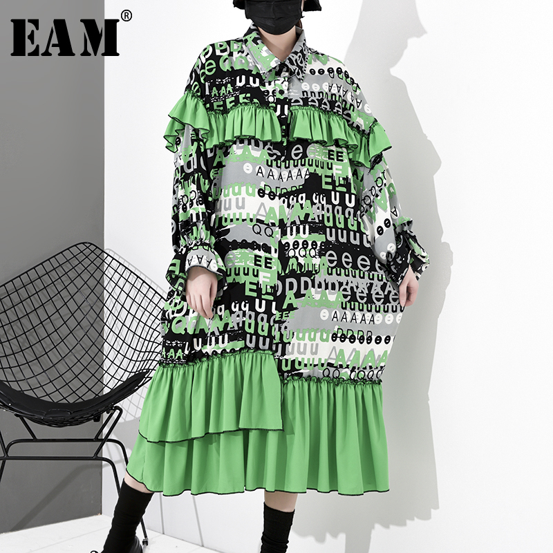 [EAM] Women Green Pattern Printed Pleated Big Size Dress New Lapel Long Sleeve Loose Fit Fashion Tide Spring Autumn 2020 1S031