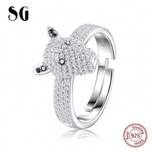 100% 925 sterling silver Luxury Dog head Dazzling open size ring with Clear cubic zirconia silver ring jewelry for women gift цена